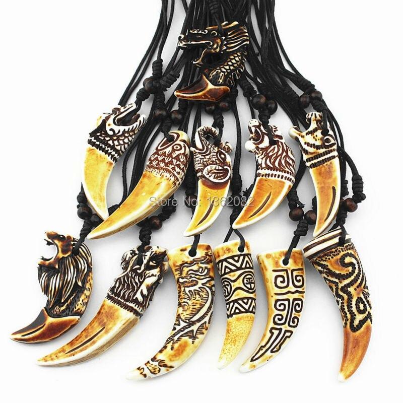 12 шт. смешанные прохладный имитация кости резной дракон тотем акула/кулон ожерелье волчий зуб амулет MN465
