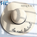 2016 New Foldable Ladies' Wide Brim Straw Beach Hats  With Embroidery Women's Sexy Large Floppy Sun Caps New Brand Chapeu Praia
