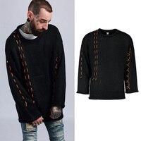 Pullover Men's Sweater Hip Hop Sweaters Men Black Loose Sweater
