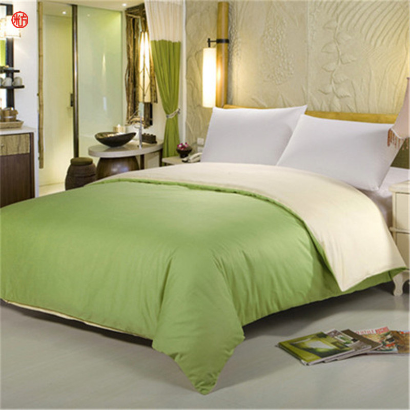 Home textile 1pc solid duvet cover 100%cotton AB side quilt cover green beige bedding for Spring Summer bed linen home textile