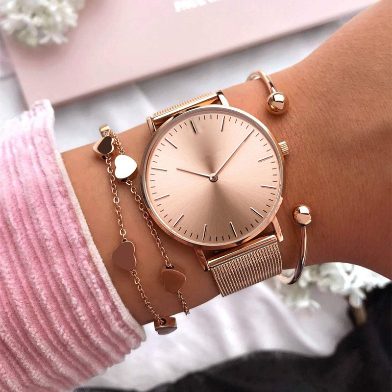 Mavis Hare Rose Gold Beauty Melrose Mesh Women Watches with Heart Bracelet Mesh Bracelet & Crystal Ball Cuff Bangles as gift gothic style faux crystal rose bracelet with ring for women