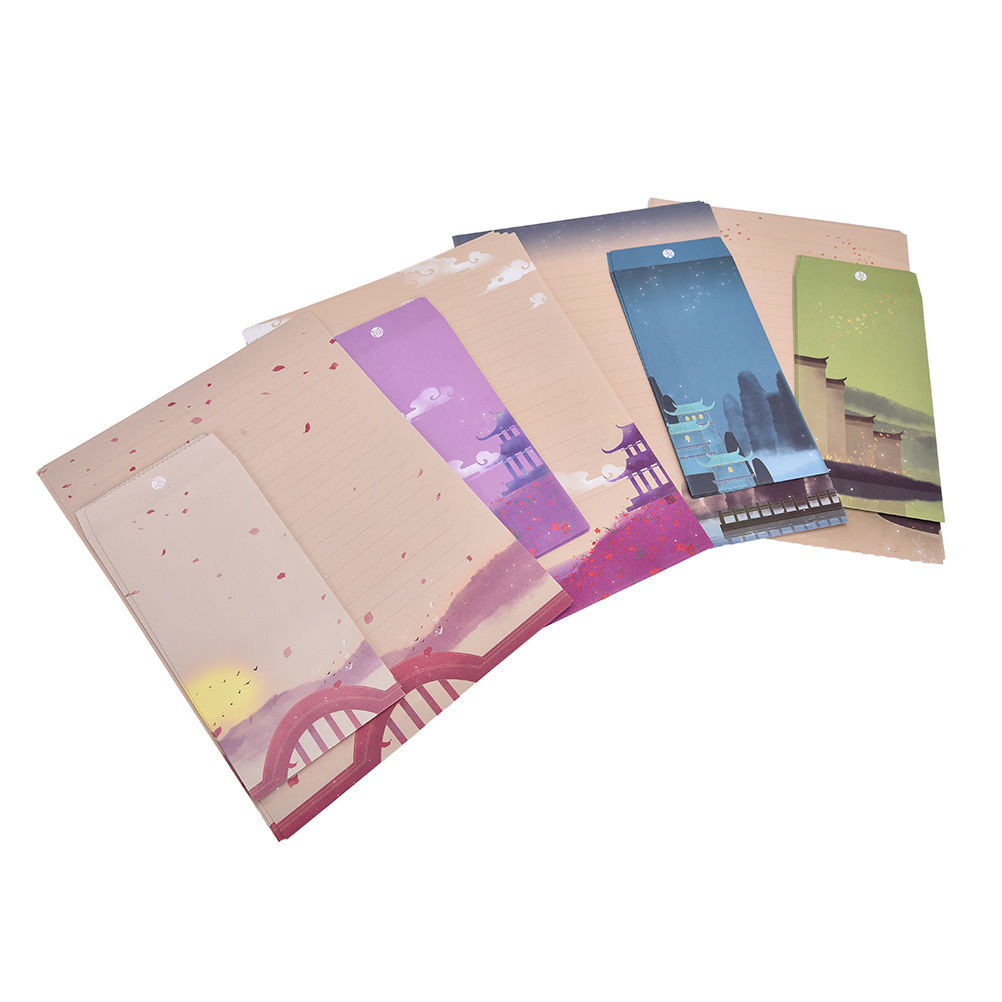 online get cheap writing paper set com alibaba group 9pcs set 6 sheets letter paper 3 pcs envelopes landscape painting letter