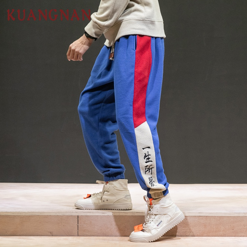KUANGNAN Men Trousers Pants Hip-Hop Wool Embroidery The-Love-Of-My-Life