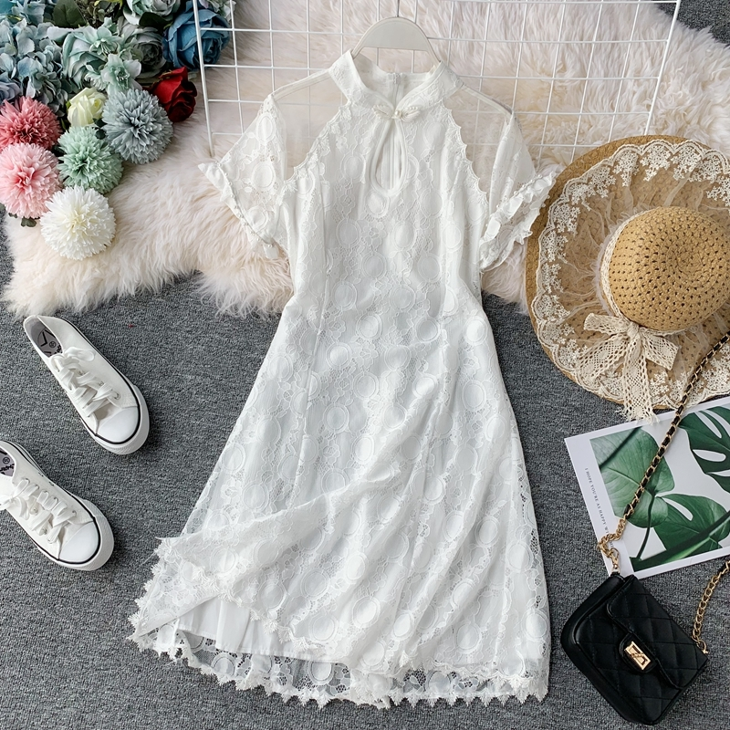 Chinese ancient popular retro qipao fashion perspective net yarn stitching silk dress with short sleeves