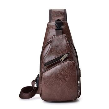 Shoulder Bags Fashion Casual Men Chest Pack Single  USB Bag Crossbody Baggs Male Strap Bac