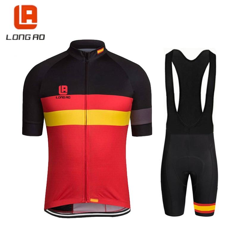 Camiseta larga AO ciclismo ropa de deporte bandera de España ciclismo Jersey de alta calidad de poliéster bicicleta conjunto envío gratis