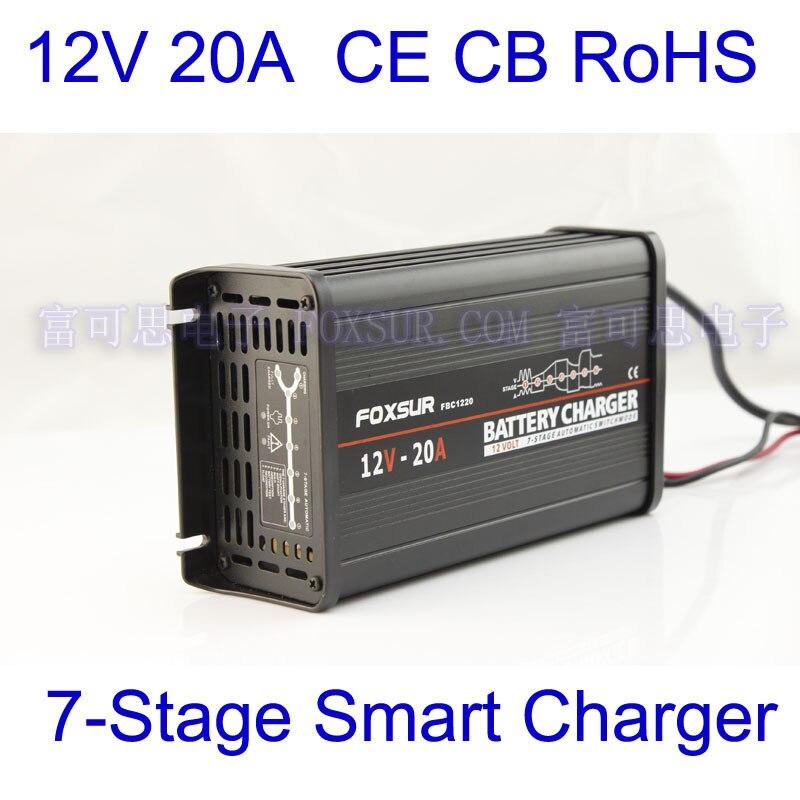FOXSUR Original 12V 20A 7-stage Smart Lead Acid Battery Charger 12V Car Battery Charger MCU Maintainer Charger Aluminum Case