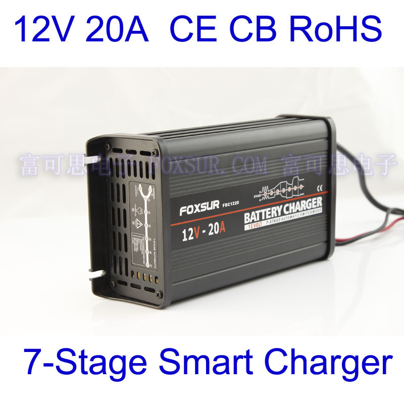 FOXSUR original 12V 20A 7 stage smart Lead Acid Battery Charger 12V Car battery charger MCU