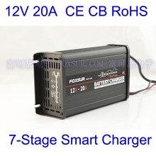 FOXSUR originele 12 V 20A 7 stage smart Loodaccu Lader 12 V auto acculader MCU Beheerder Charger Aluminium case