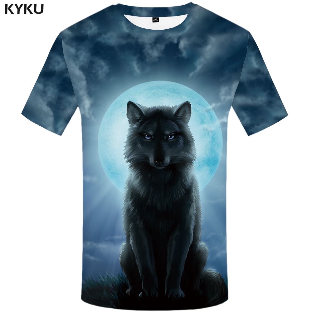 KYKU Brand Wolf <font><b>Shirt</b></font> Moon <font><b>T</b></font> <font><b>Shirts</b></font> Moonlight <font><b>T</b></font>-<font><b>shirt</b></font> Men <font><b>3d</b></font> <font><b>T</b></font> <font><b>Shirt</b></font> Animal <font><b>Sexy</b></font> Male <font><b>Shirts</b></font> Japanese Mens Clothes Mens Tee image
