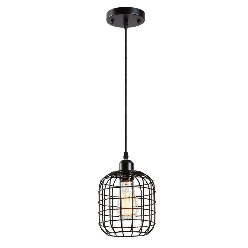 Industial Mini Pendant Light Metal Cage Hanging Lamp