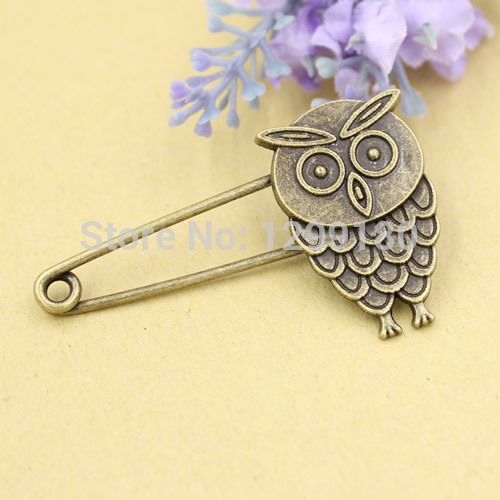 10pcs/lot Alloy Antique Bronze Vintage Animal Brooch Safety Pins For Garment Accessories Scarf Clip pins Length:54mm (K02088)