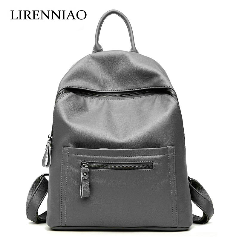 LIRENNIAO 2018 Hot sale School Bags for Teenagers Fashion Backpacks for Teenages Women Backpack Genuine Leather Backpack Travel