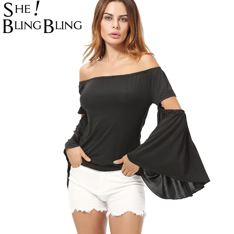 SheBlingBling Solid Color Long Sleeve Women Off Shoulder Tops Fashion Split Exaggerated Sleeve Bardot Tops Slim Fit Casual Tees