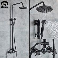 Shinesia Antike/Schwarz Bronze Bad Dusche Set Mixer Wasserhahn Doppel Griffe Heiße und Kalte Wasser Wand Montiert Dusche System