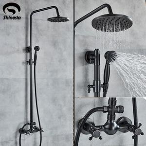Image 1 - Shinesia antika/siyah bronz banyo duş seti mikser musluk çift kolları sıcak ve soğuk su duvara monte duş sistemi