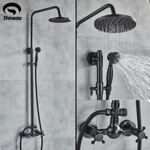 Shinesia עתיק/שחור ברונזה אמבטיה מקלחת סט מיקסר ברז כפול ידיות חם וקר מים קיר רכוב מקלחת מערכת