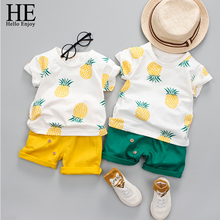 HE Hello Enjoy Summer Clothes For Boys Kids Short Sleeve Print Pineapple T-shirt+Shorts 2 Piece Sets Casual Children's Clothing