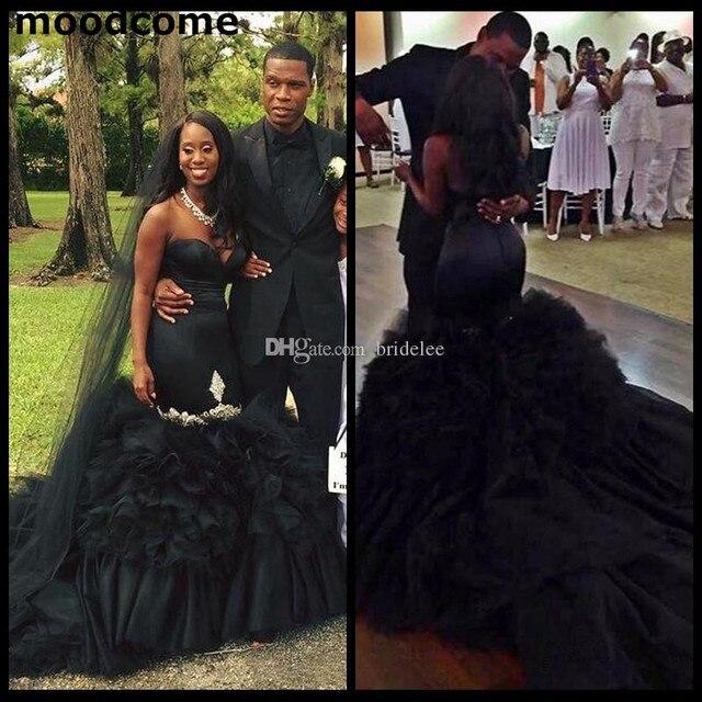2018 Unique Chic Layer Ruffles Black Mermaid Wedding Dresses Sexy