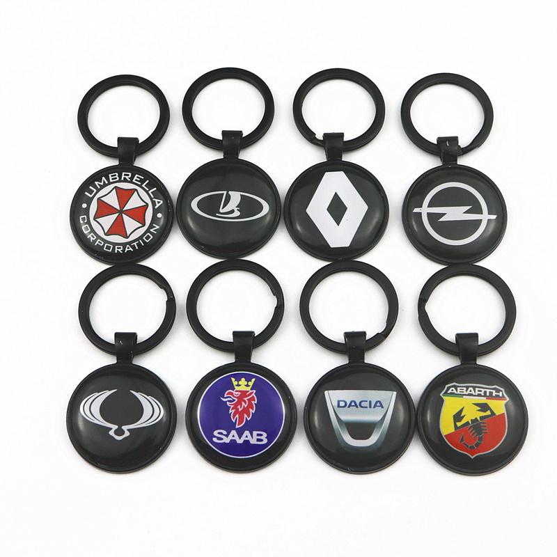3D Car Emblem Badge Sticker For Bmw Vw Renault Lada Opel Dacia Nissan Honda Toyota Skoda Ford Mazda Keychain Keyring Car Styling