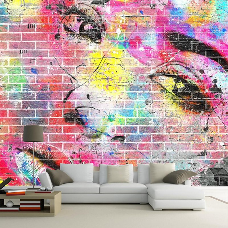 Custom retro wallpaper, brick patterns and human face murals for the ...