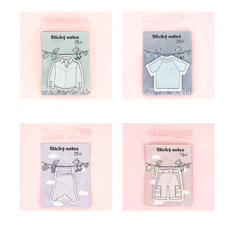 1 Pcs Pakaian Memo Lembar Baru Perlengkapan Sekolah Celana Planner Stiker Kawaii Sticky Notes Memo Pad Peralatan Kantor dan Sekolah