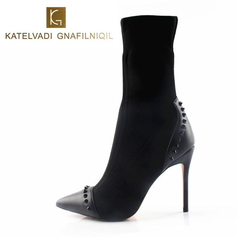 Femmes Rivets Bottes 10 CM/8 CM talons hauts Bout Pointu Sexy bottes de neige chaussures de femme talons hauts Noir Femmes Cheville bottines printemps K-075