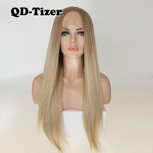 Image 3 - QD Tizer ブロンド髪ロング絹のようなストレートオンブルブロンド色レースフロントかつらグルーレスダークルート合成レースフロントかつら