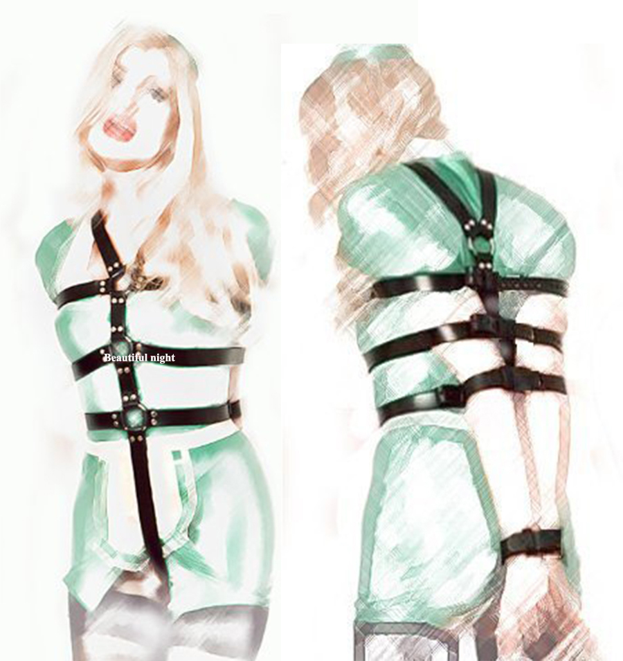 Full Body Leather Bondage Restraint Straps, Bdsm Discipline Belt,Hand Behind Back Bondage, Sexy Exotic Costumes