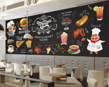 цены beibehang Custom size HD fashion silky interior wall paper hand-painted fast food restaurant burger shop background wallpaper