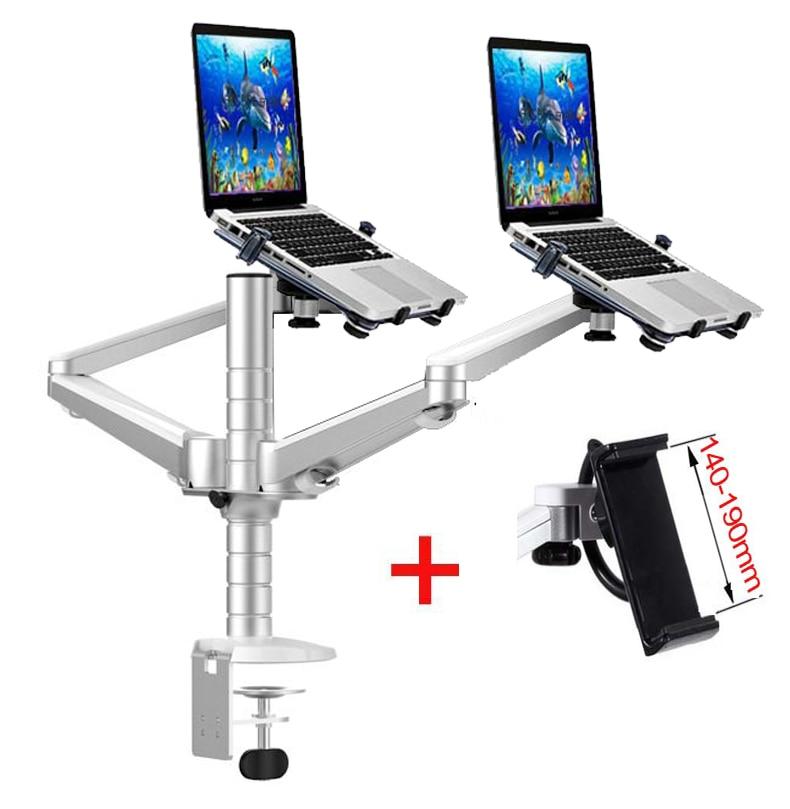"OA-12X aluminum alloy 2 In 1 Bracket adjustable Dual Arm double laptop desktop stand Holder For 10-15 inch Laptop+ 7""-10"" tablet"