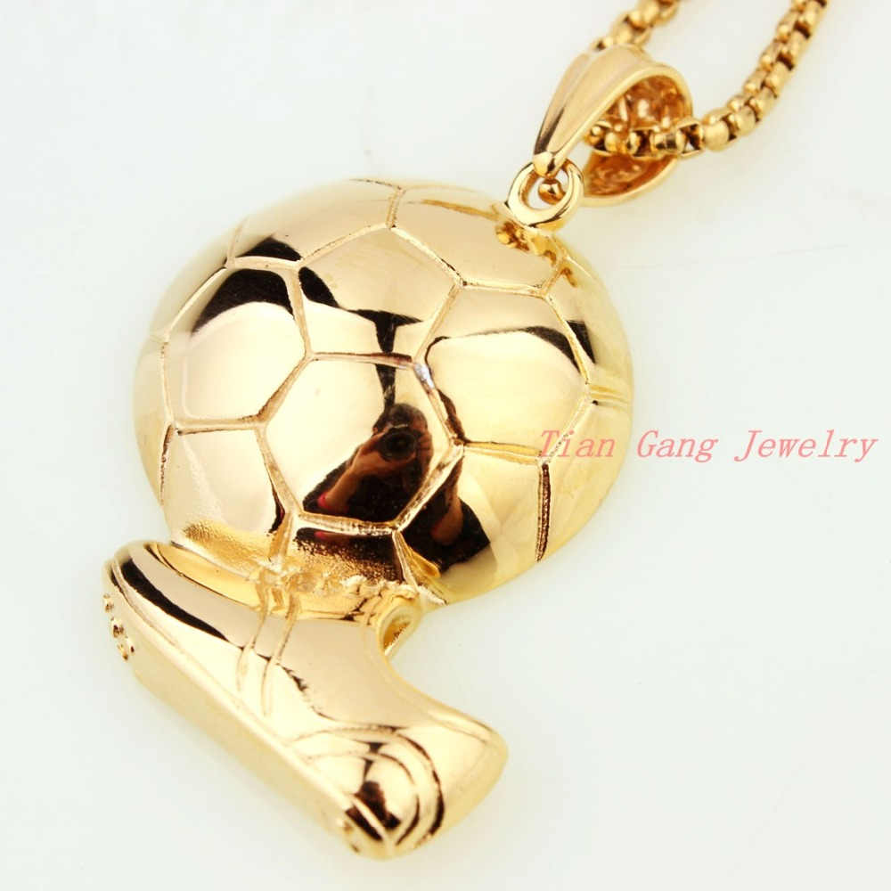 stainless fashion gold american chain jewelry item fitness pendant necklace in steel men workout sport color new pendants plated necklaces football ball from