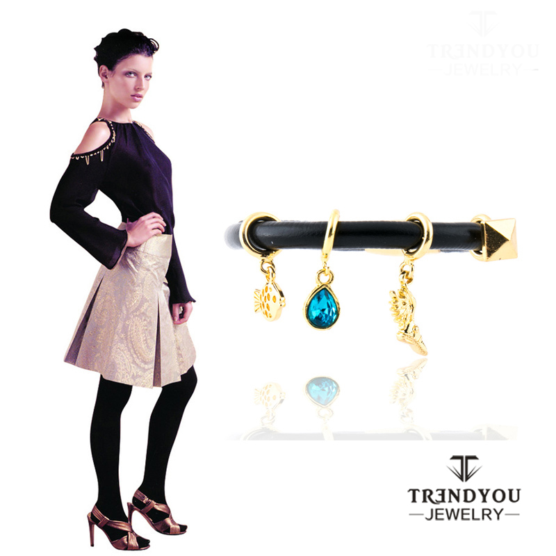2016ファッション新しいジュエリーdiyレザーブレスレットペンダント磁器シングルバックル無限ブレスレット女性ギフトEdss645
