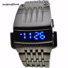 9d8aeafee2c Susenstone ferro samurai Dos Homens Relógio de Luxo Mens Aço Inoxidável LED  Azul Esporte Digital De