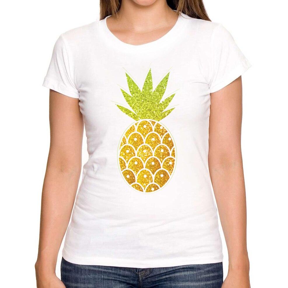 Ananas Rysunek us $6.62 49% off|2018 gorące lato sprzedaży moda dość brokat tropikalny  ananas rysunek projekt damska koszulka z krótkim rękawem topy nowość slim  tee