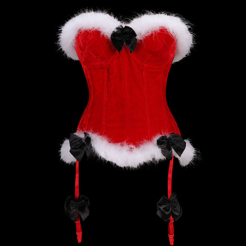 Women's Luxurious Valentines Marabou Trim Overbust Bustier Corset Velvet Christmas  Lace up side Zipper Corsets