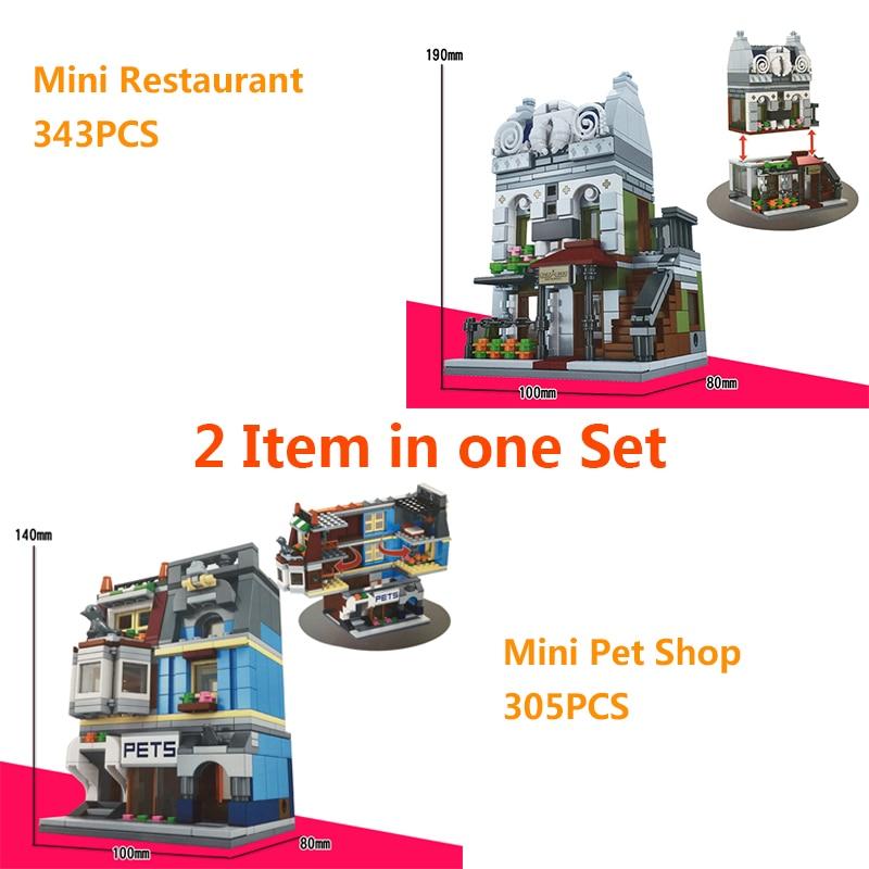 2PC/Set Mini Street View Building Blocks pet Shop Compatible With Legoe City ninjago Toys paris resturant legoe city for present сумка для ноутбука pc pet pcp a9015bk