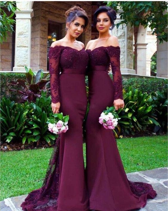 New Charming Full Sleeve   Bridesmaid     Dress   Long Off Shoulder Beaded Lace Mermaid
