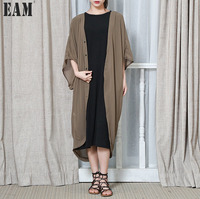 EAM 2018 Autmn Spring Fashion New Black Coffee Solid Color Cardigan Coat Loose Chiffon Sunscreen