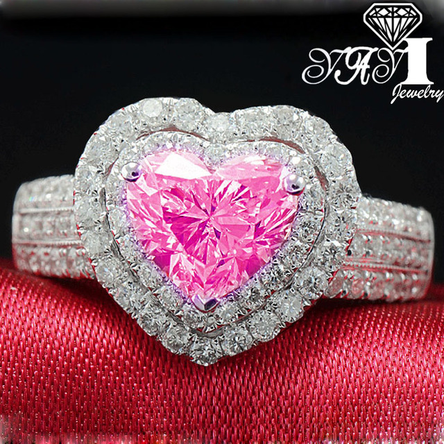 YaYI Fashion Women Jewelry Ring 2.9CT Pink Zircon CZ Silver Color Engagement Rin
