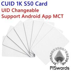 CUID UID сменная nfc карта с block0 записываемая для s50 13,56 Mhz nfc китайская Волшебная карта Поддержка Android App MCT