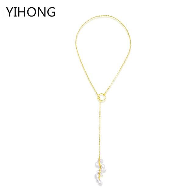 e94322d23806 € 3.86 50% de DESCUENTO Detalle perla de Faux Y enlace collar Y oro en  forma de Color whith perla cadena collar mujeres joyería Bijoux Feme en ...
