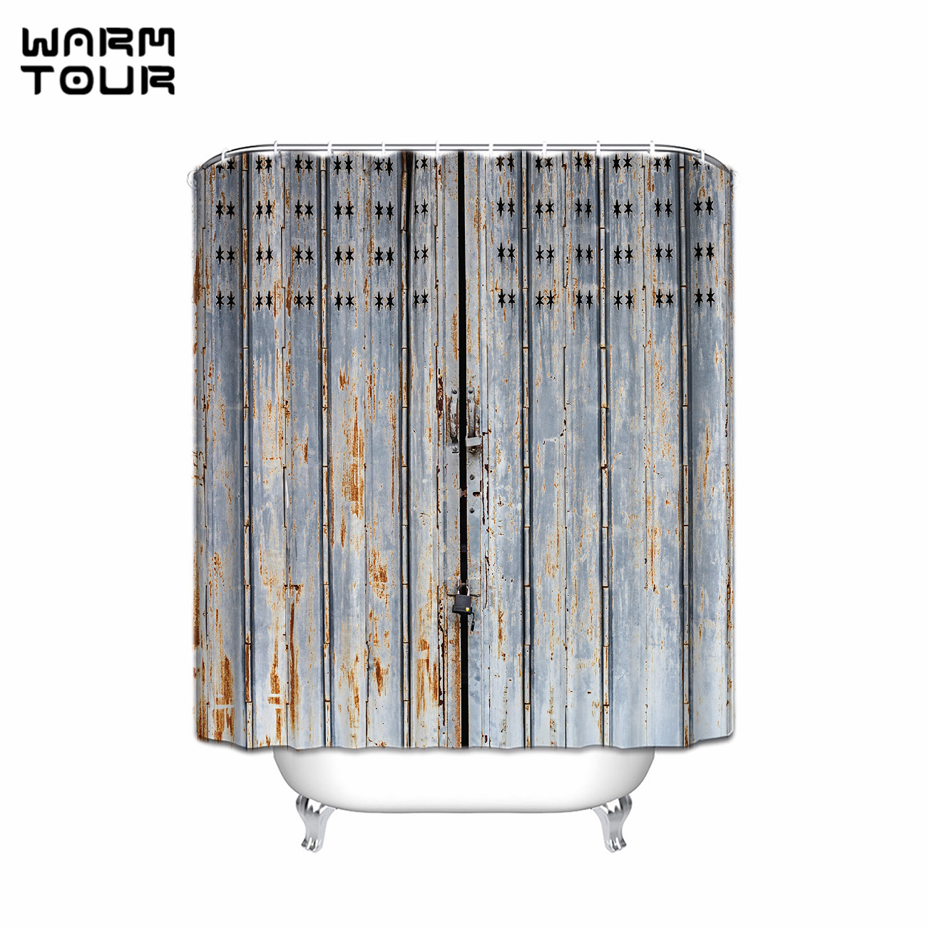 Country Shower Curtains For The Bathroom - Warm tour old bronze wooden garage door vintage rustic shower curtain american country style bathroom decor