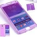 Cristal transparente tampa flip para samsung galaxy note 4 iv n910c n9100 caso claro silicone macio casos de telefone para galaxy note 4