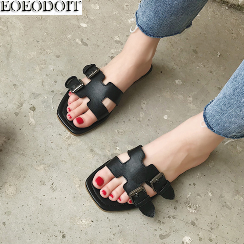 EOEODOIT Leather Slippers Open Toe Wide Foot Shoes Summer Slides Women Casual Sandals Slip Resistance Leather Belted Shoes