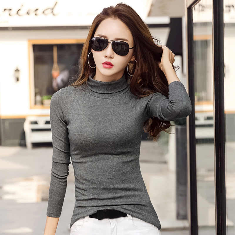 c6e836f0fb9 Detail Feedback Questions about New Fashion Women Turtleneck T Shirt Solid Long  Sleeve Autumn Winter Slim Bodycon Tops Female Wild Plus Size 3XL Casual ...