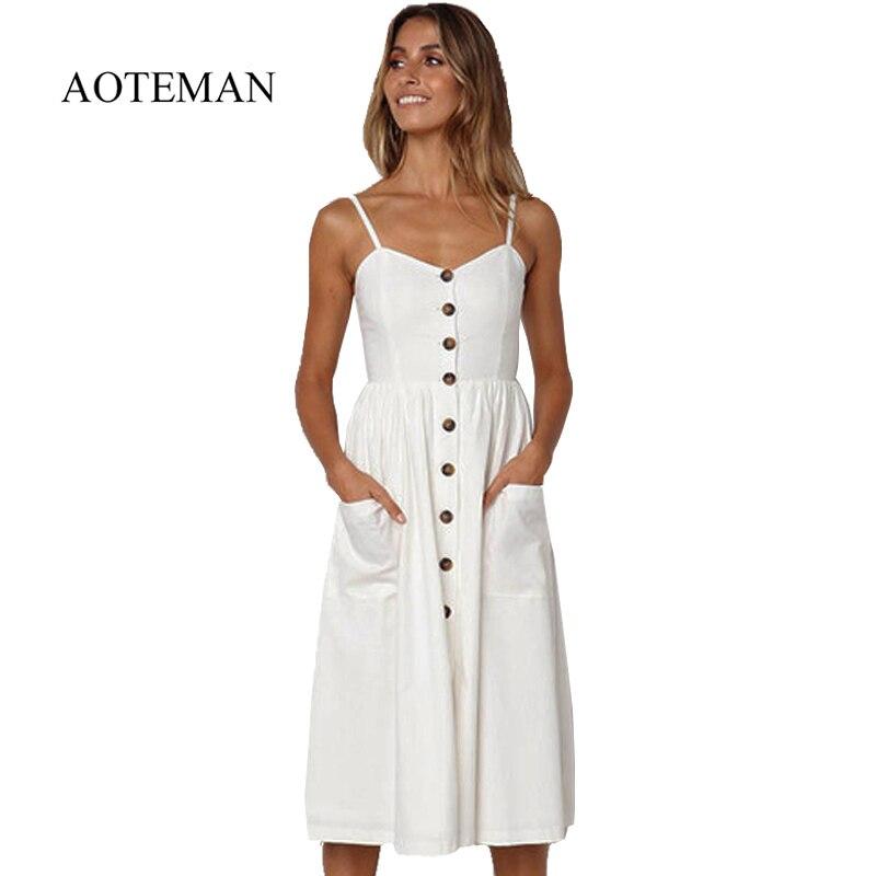 AOTEMAN Summer Dress Women Sexy Striped Pocket White Vintage Dress Female Elegant Bohemian Beach Party Dresses Plus Size Vestido