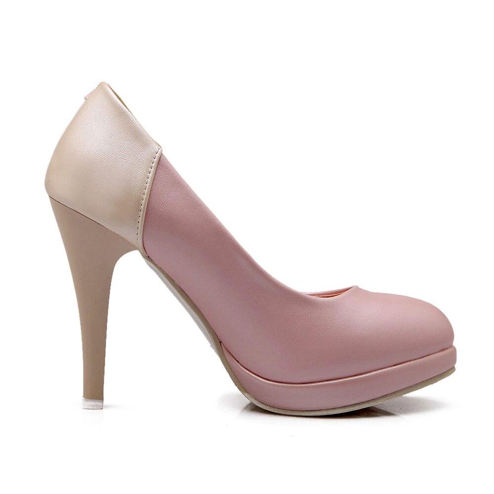 Sexy 2018 Haute De Talons Mode Sur Rouned Slip Ol Bout Pompes rose Femmes Robe bleu Beige Dames Chaussures rCqAwX5rxn