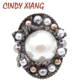 CINDY XIANG New Arrival Pearl Round Style Baroque Brooches for Women Vintage Coat Pins Corsage High Quality 2018