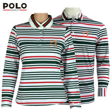 POLO new long-sleeved t-shirts for men and women golf lovers striped shirt golf clothes men running polo shirt knitted